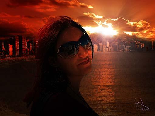 Transforma una escena del día a la noche (bonita puesta de sol)