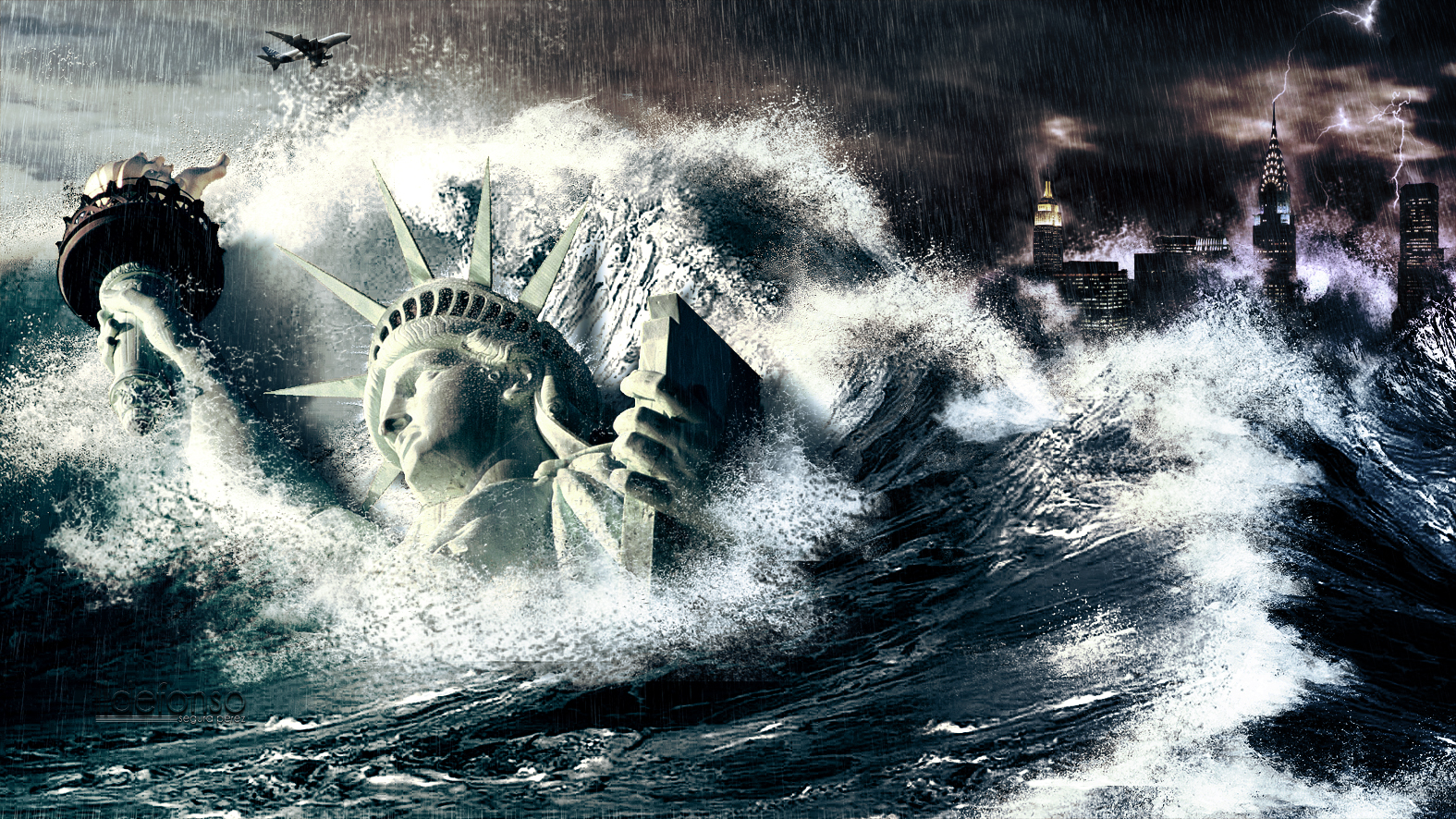 Tutorial Photoshop // Wallpaper Tsunami en New York