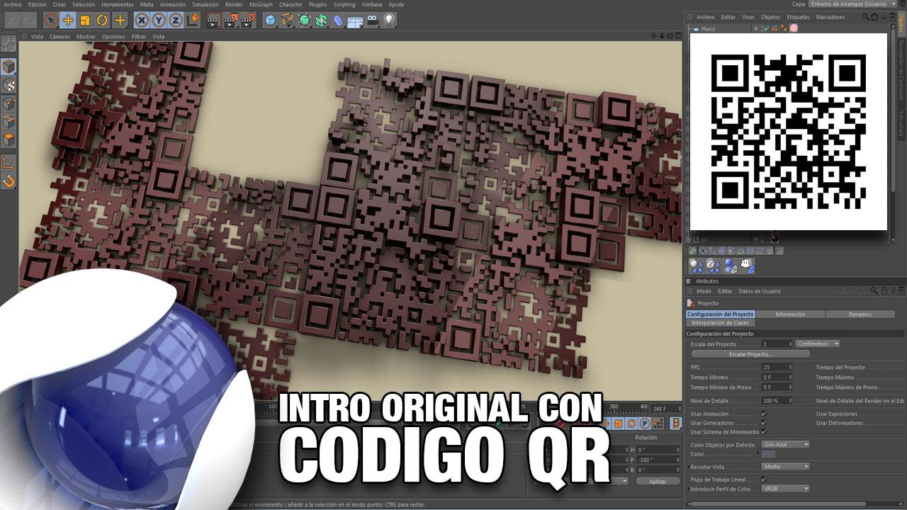 Intro original con código QR con Cinema4D publicado en #Conectatutoriales