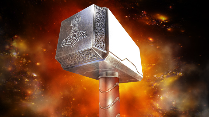 Modelado y Texturizado del martillo de #Thor con #cinema4d #photoshop #shadermap by @ildefonsosegura
