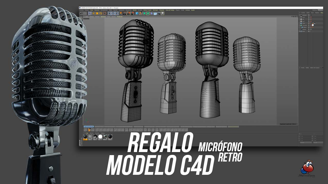 Regalo modelo 3D – micrófono retro – Gratis