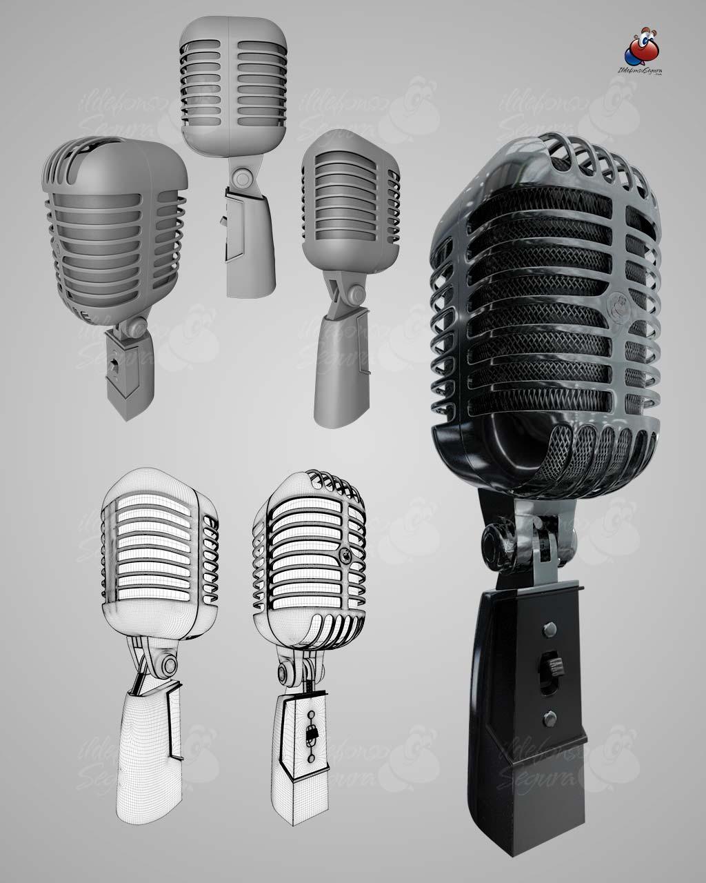 Regalo modelo 3d micrófono retro.