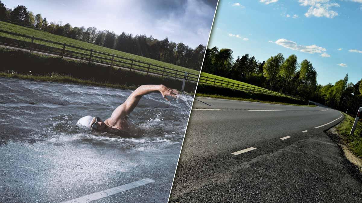 Lee más sobre el artículo Fotomontaje nadando en una carretera Tutorial Photoshop by @ildefonsosegura