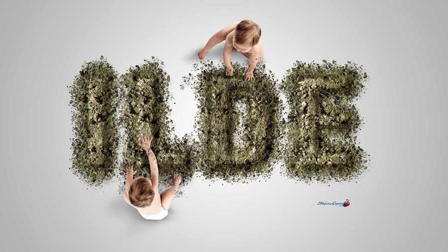 """Añade césped a un texto de tierra usando """"fusionar si"""" con #Photoshop by @ildefonsosegura"""